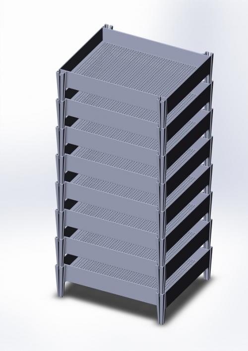 Ящик решетчатый из полиэтилена в стеллаже